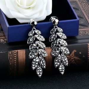 Jewelry - Black Floral Pave Leaf Drop Earrings